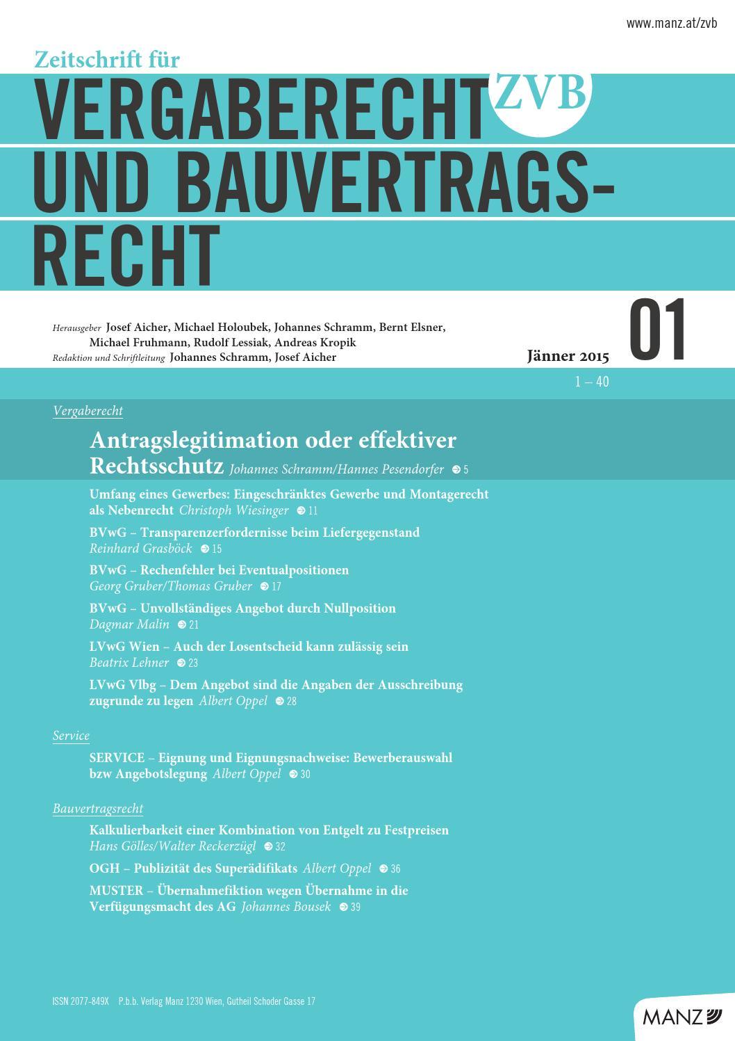 Zvb 012015 By Manzsche Verlags U Universitätsbuchhandlung Gmbh