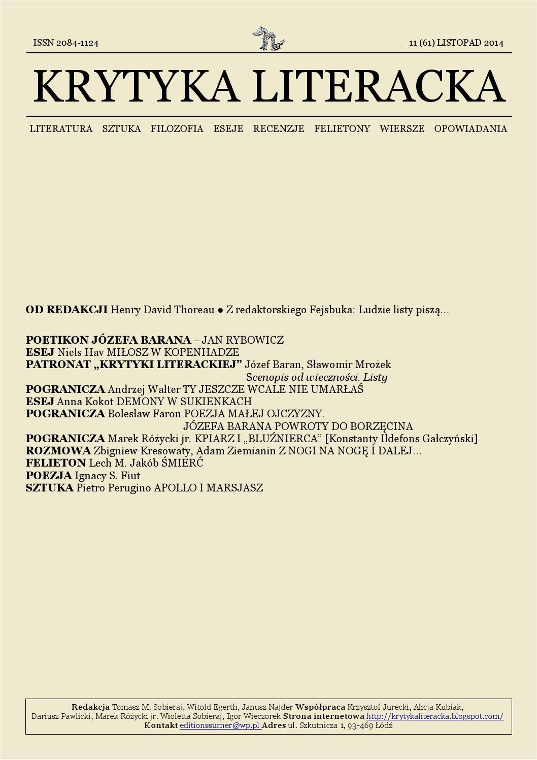 Krytyka Literacka 112014 By Krytyka Literacka Issuu