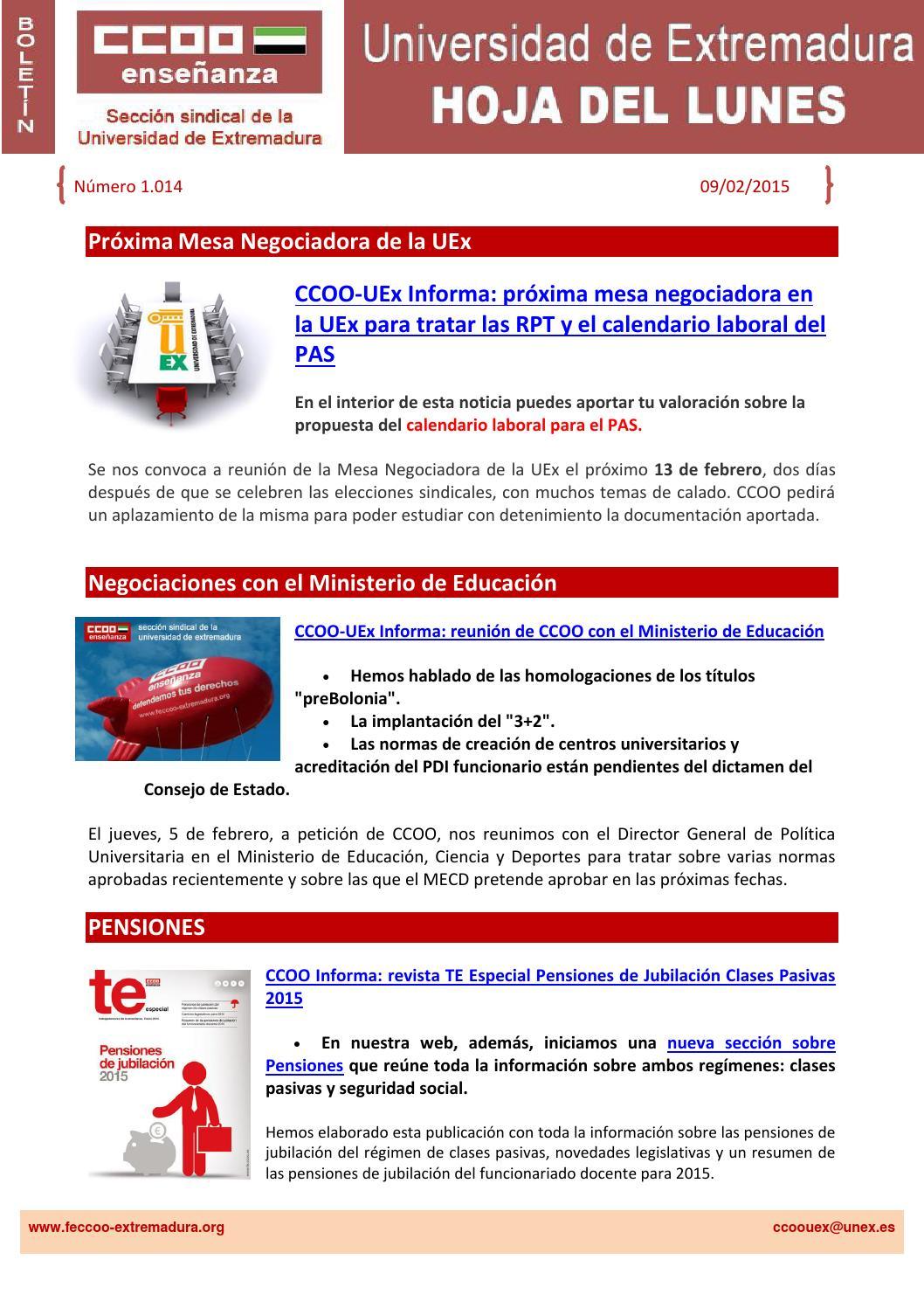 Calendario Uex.Hoja Del Lunes Nº 1014 By Federacion De Ensenanza Ccoo Extremadura