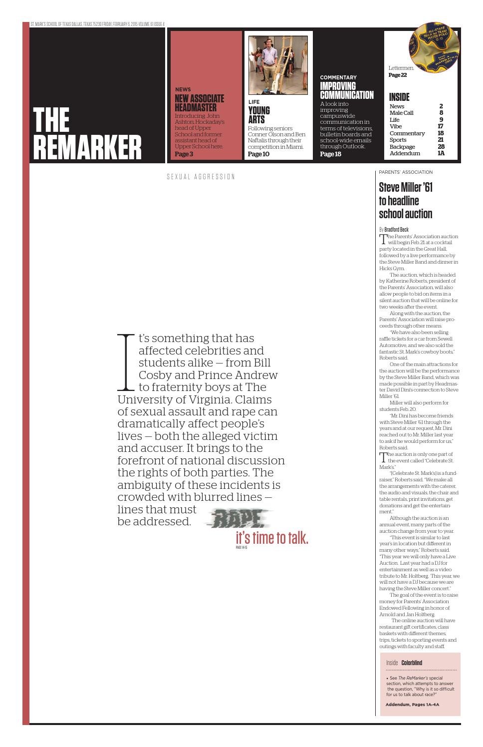 The remarker february 2015 by st marks school of texas issuu fandeluxe Image collections
