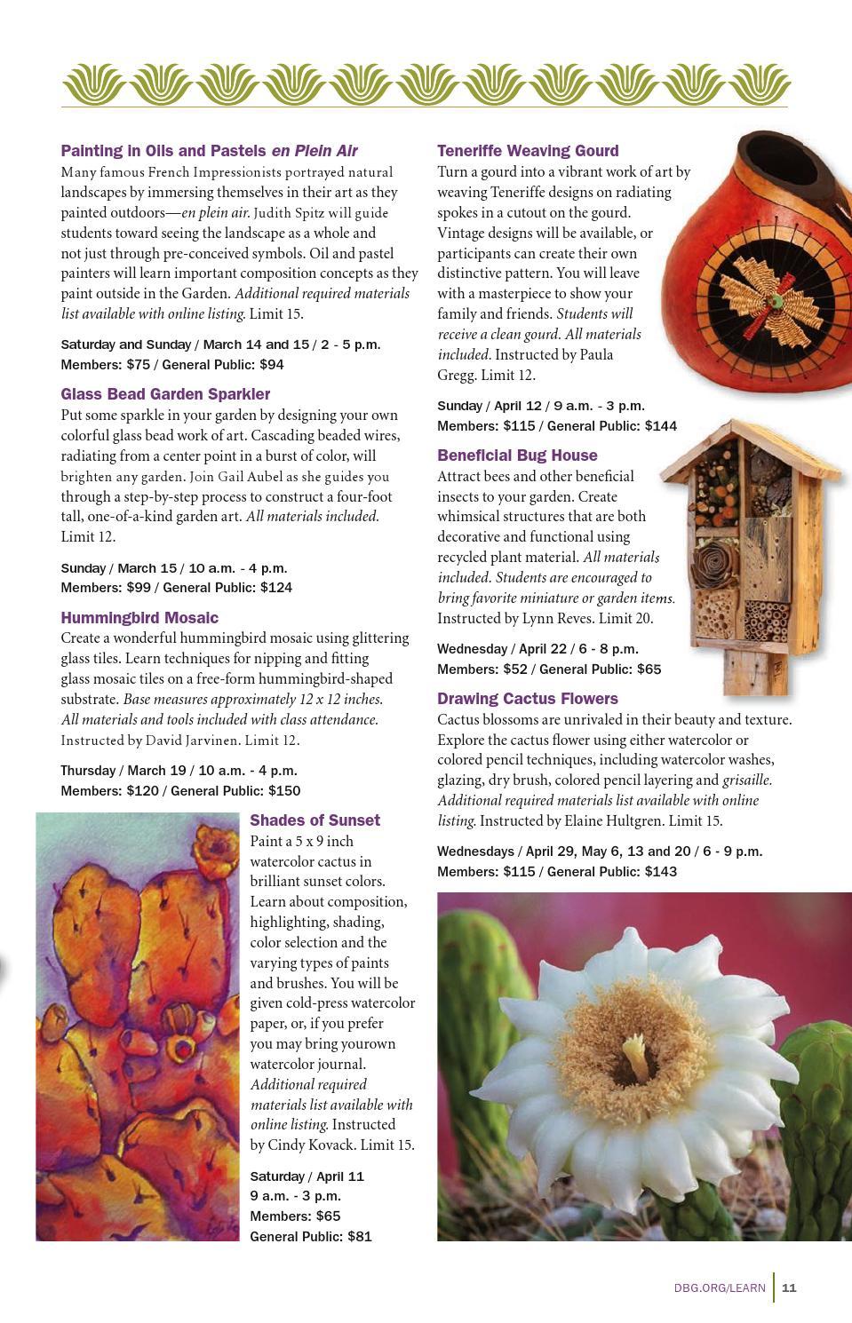 Garden Calendar Spring 2015 By Desert Botanical Garden Issuu