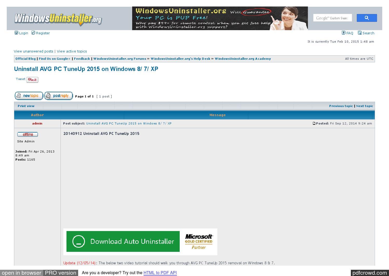 remove avg pc tuneup 2013