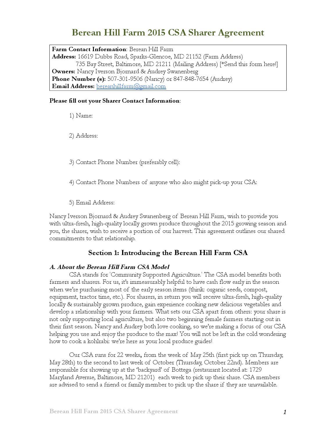 Berean Hill Farm 2015 Csa Sharer Agreement By Berean Hill Farm Issuu