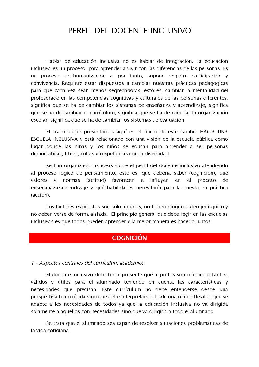 Perfil del Docente Inclusivo by Pedro J Mondejar - issuu