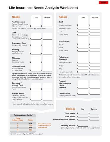 Non Life Insurance Life Insurance Needs Analysis Worksheet