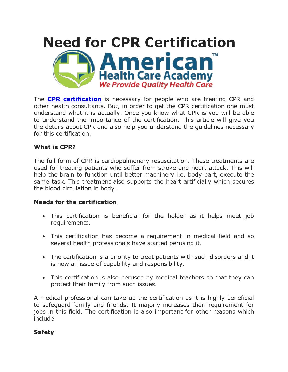 Need For Cpr Certification By Kellycramer Issuu