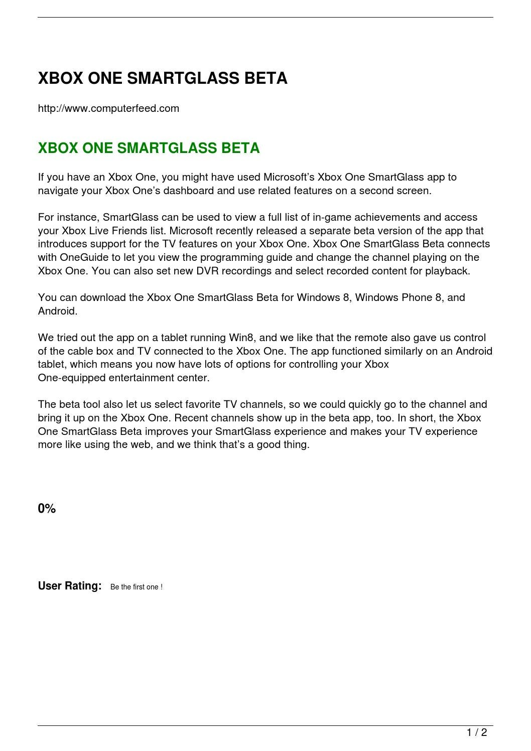 XBOX ONE SMARTGLASS BETA by computerfeed - issuu
