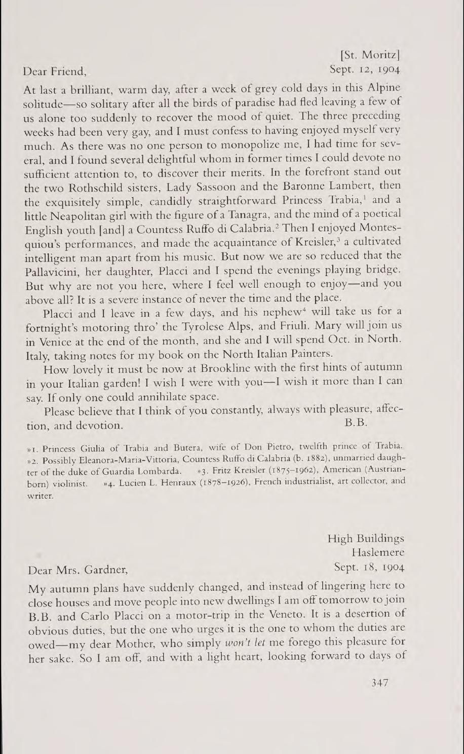 The Letters of Bernard Berenson and Isabella Stewart Gardner (Part II) by  Isabella Stewart Gardner Museum - issuu