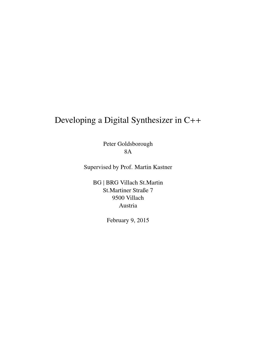 Developing a Digital Synthesizer in C++ by Peter