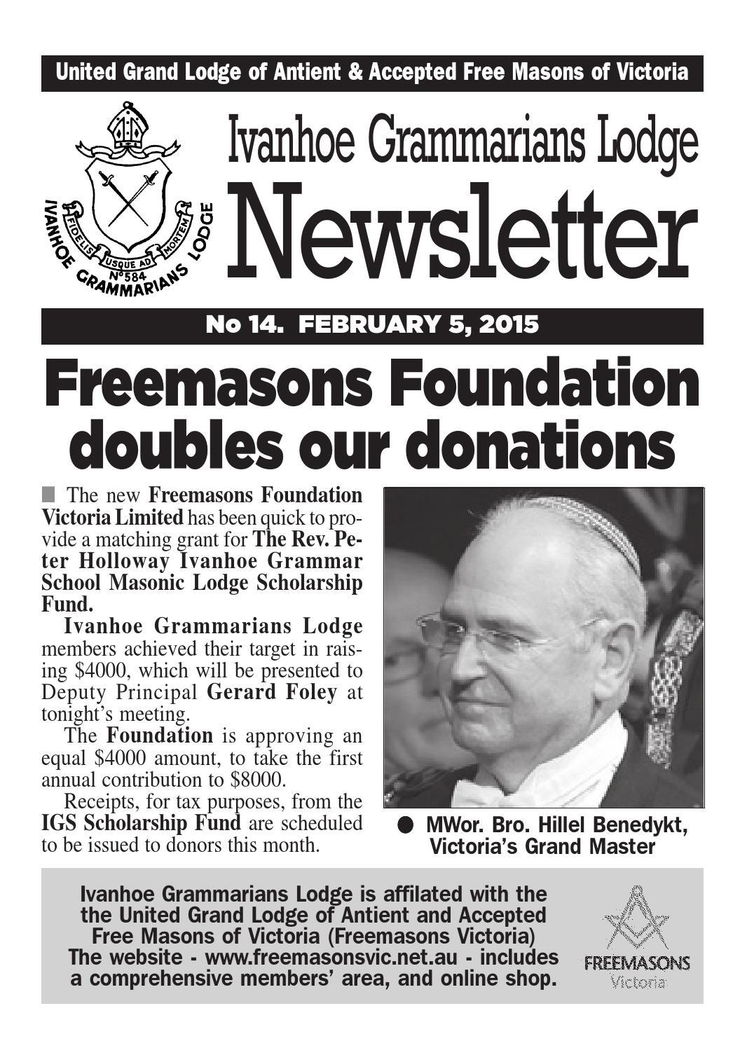 ivanhoe grammarians lodge newsletter  february 2015  by