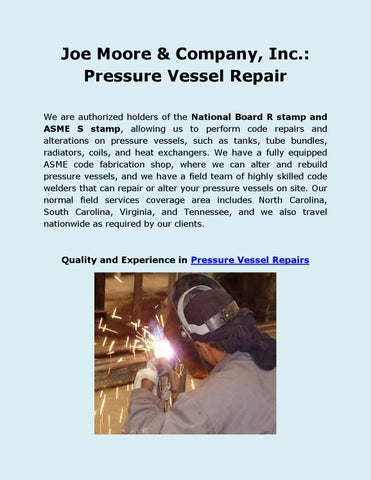 Joe moore & company, inc pressure vessel repair by
