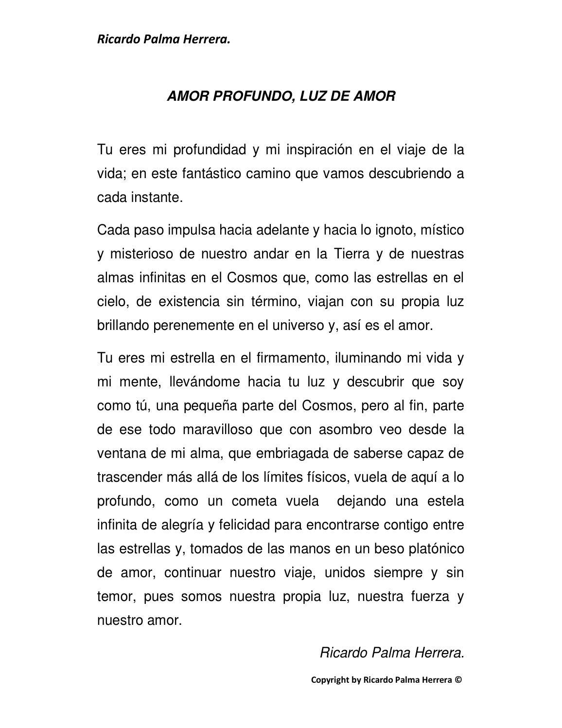 Amor Profundo Poema By Ricardo Palma Herrera Issuu