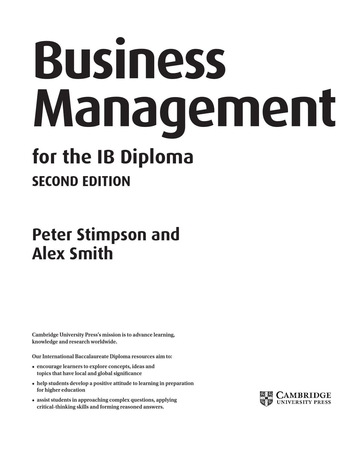 Business Management for the IB Diploma (second edition) by