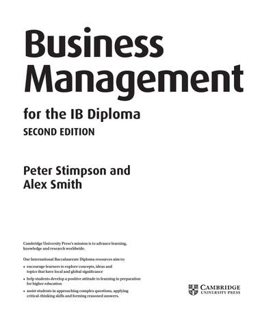 Business Management For The Ib Diploma Second Edition By Cambridge