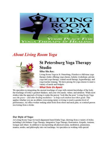 Private, Classic Yoga Therapy Classes St Petersburg FL by ...