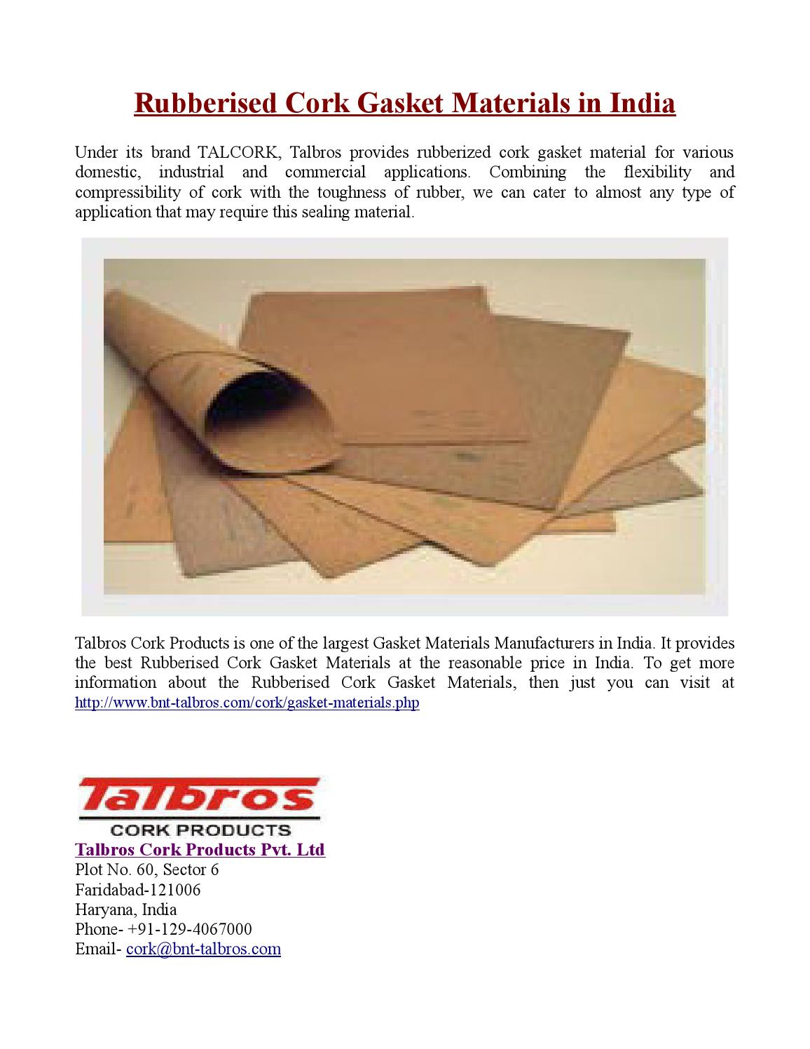 Rubberised Cork Gasket Materials in India by Crazzy Paul - issuu