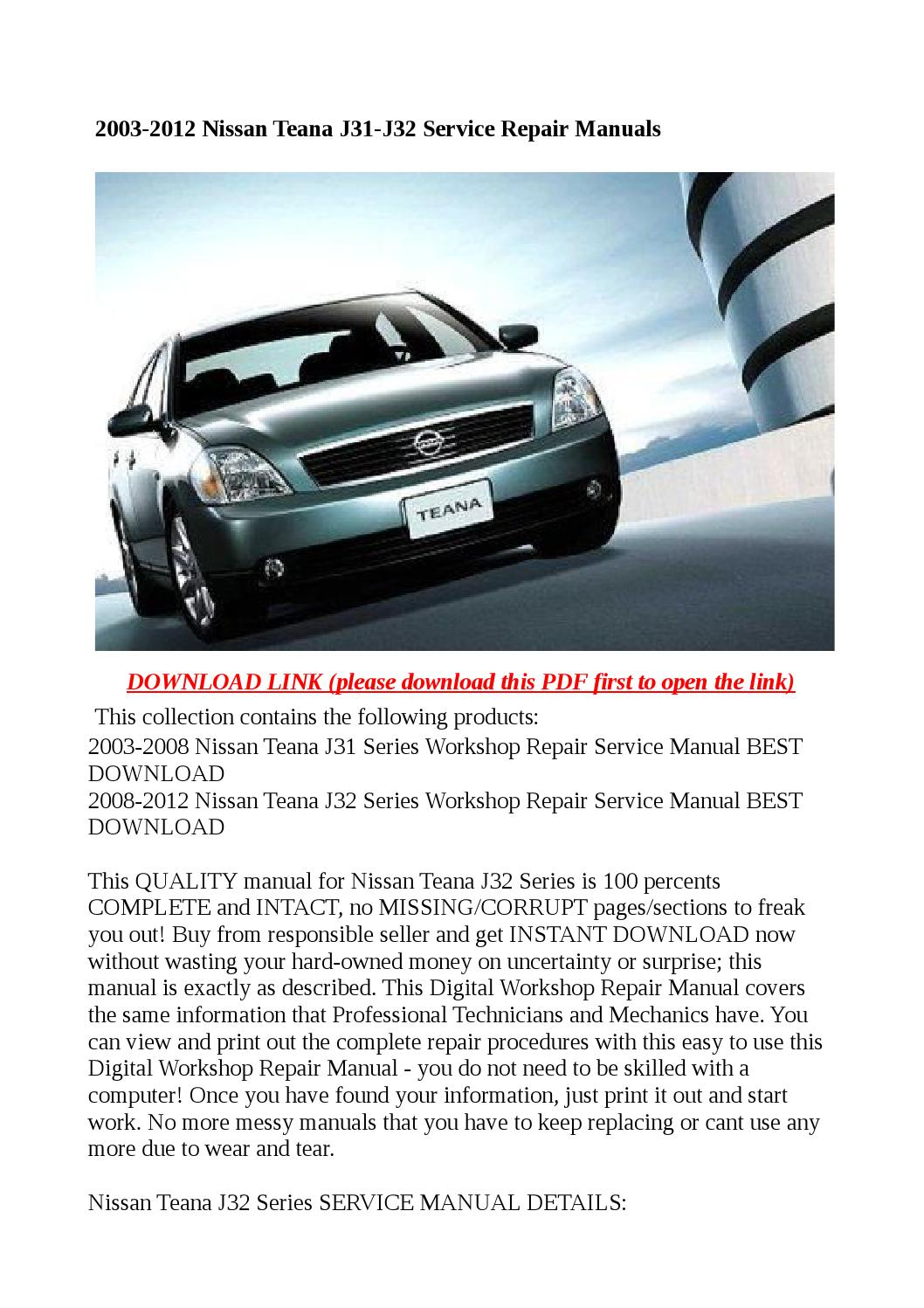 2003 2012 Nissan Teana J31 J32 Service Repair Manuals By Exo Issuu Almera N16 Airbag Wiring Diagram