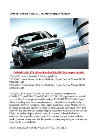 2003 2012 nissan teana j31 j32 service repair manuals