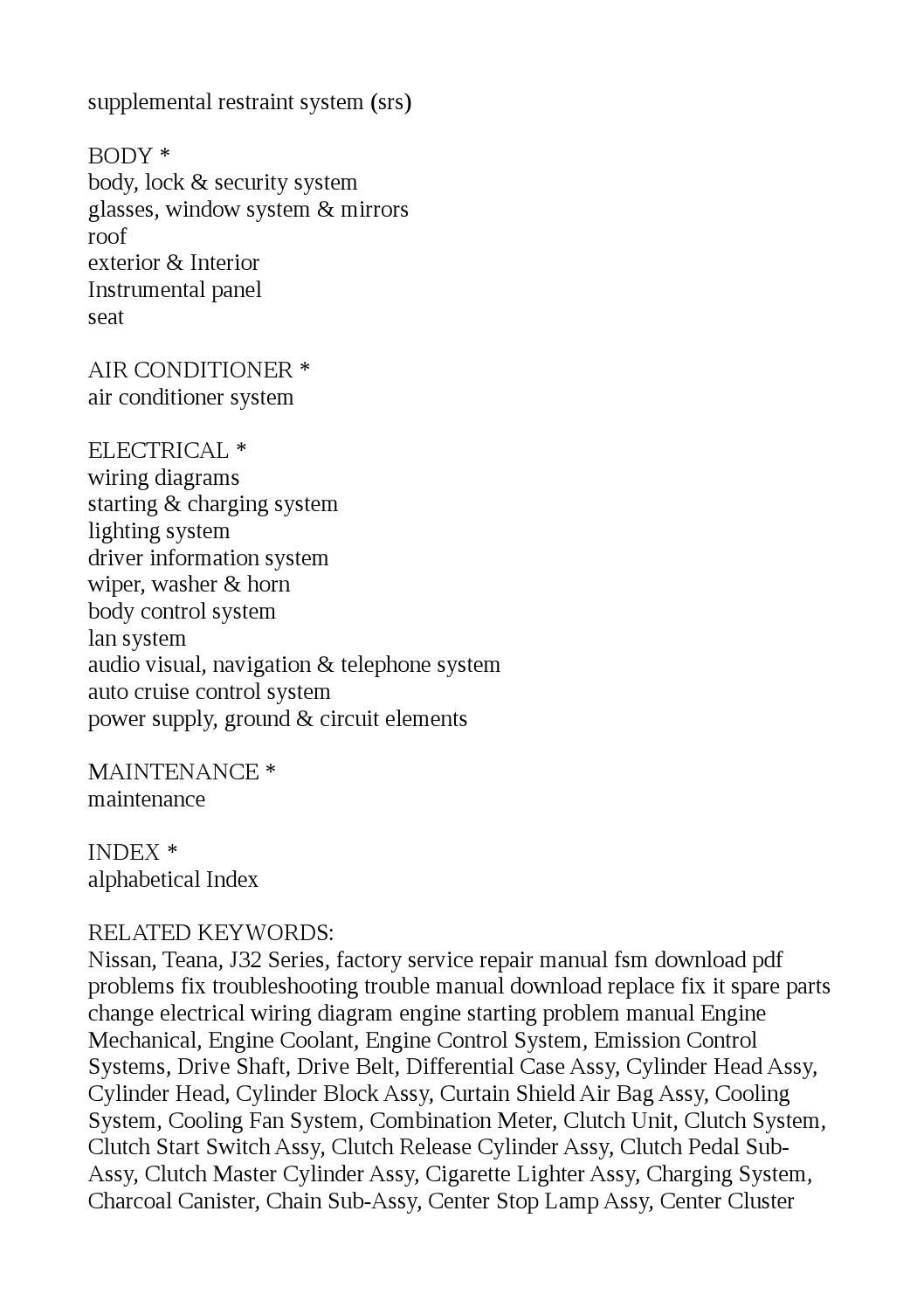 2003 2012 Nissan Teana J31 J32 Service Repair Manuals By