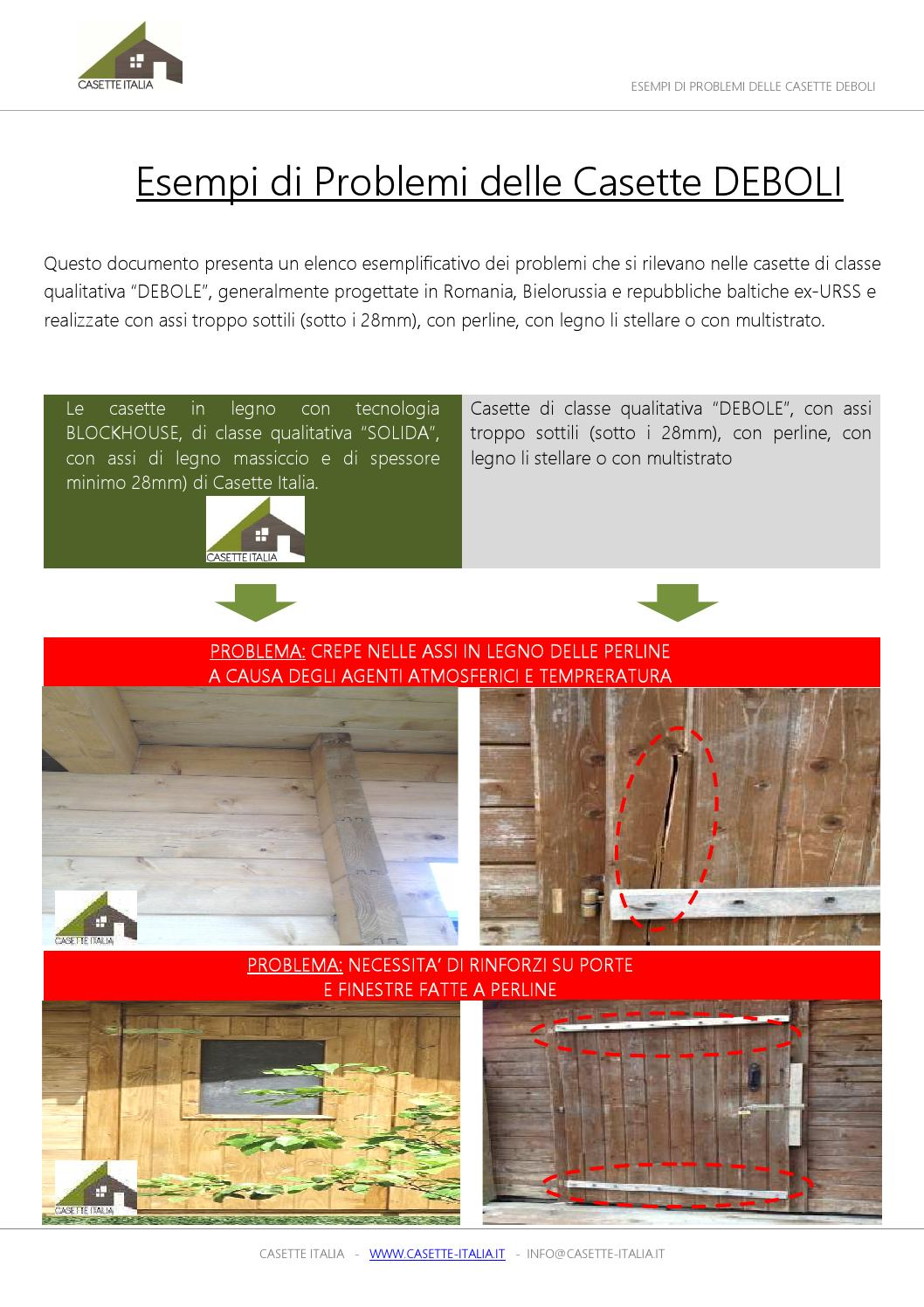 I principali problemi delle casette in legno deboli by for Casette italia