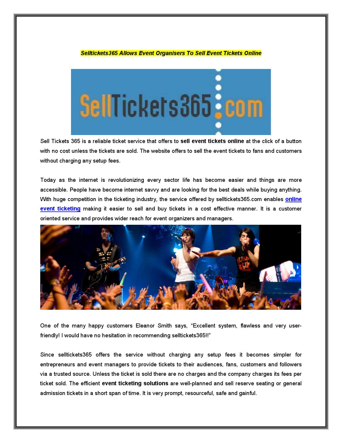 sell event tickets online by selltickets365 issuu