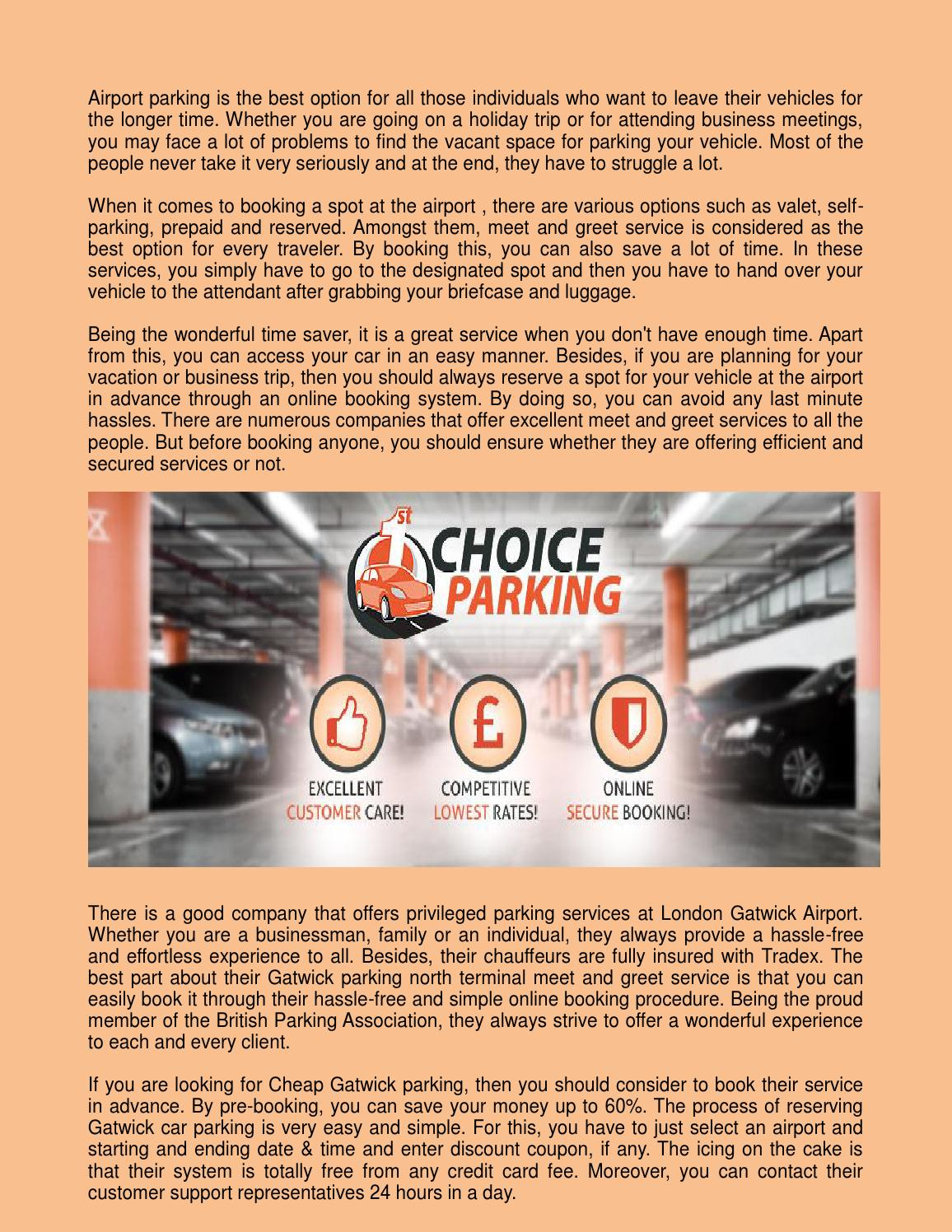 Parking At Gatwick By First Choice Parking Issuu