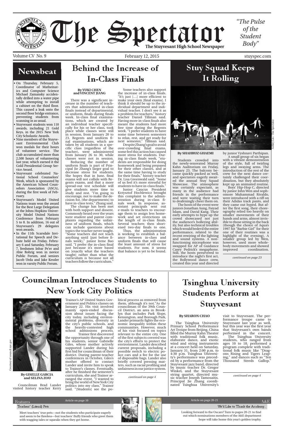 Volume 105, Issue 9 by The Stuyvesant Spectator issuu