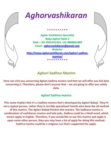 Aghori sadhna mantra - +919888661889 by Astro Guru - issuu