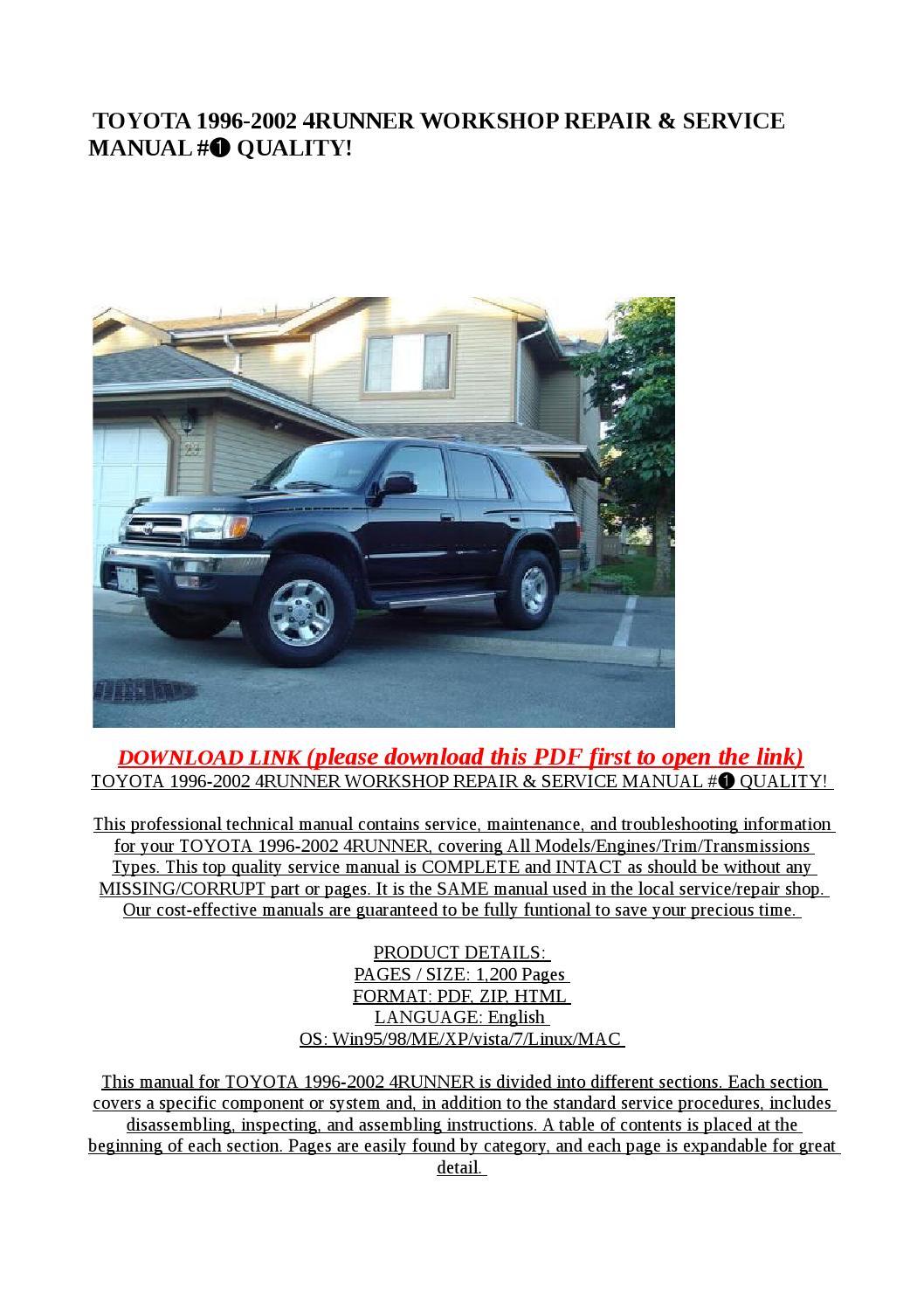 Toyota 1996 2002 4runner Workshop Repair  U0026 Service Manual