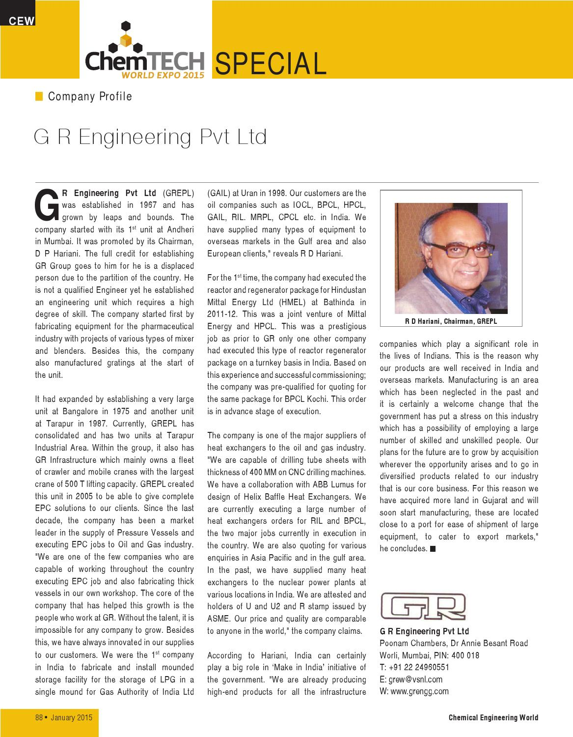 Jan 2015 by Chemical Engineering World - issuu