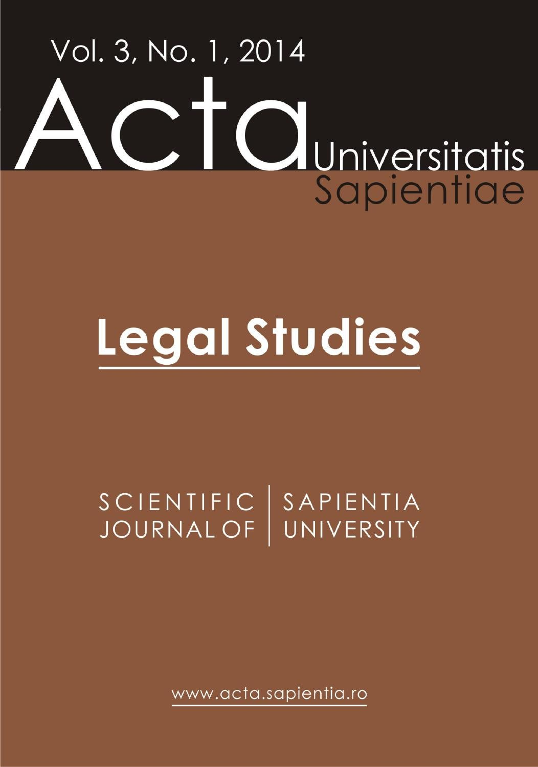 Legal Studies Vol. 3, No. 1, 2014 by Acta Universitatis Sapientiae ...
