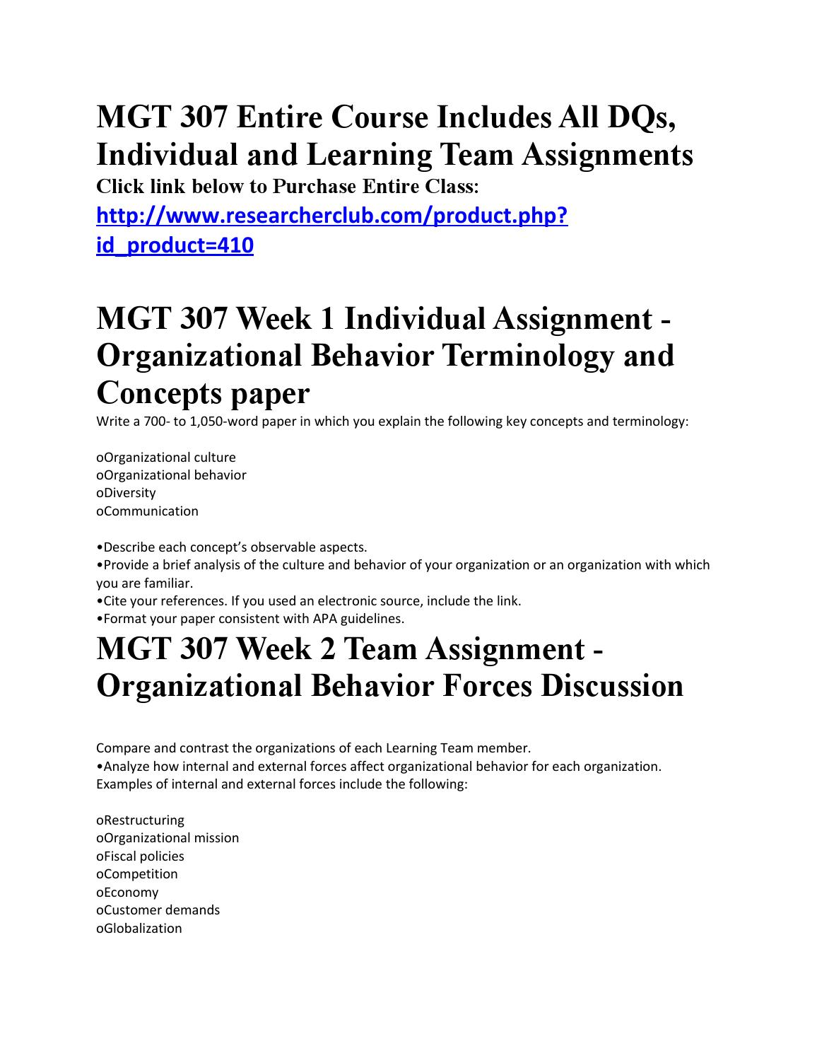 organizational behavior terminology and concepts paper mgt 307 Week 1 individual and team assignments and weekly summary: mgt307 wk 1 organizational behavior terminology and concepts paper mgt307 wk 1 summary.