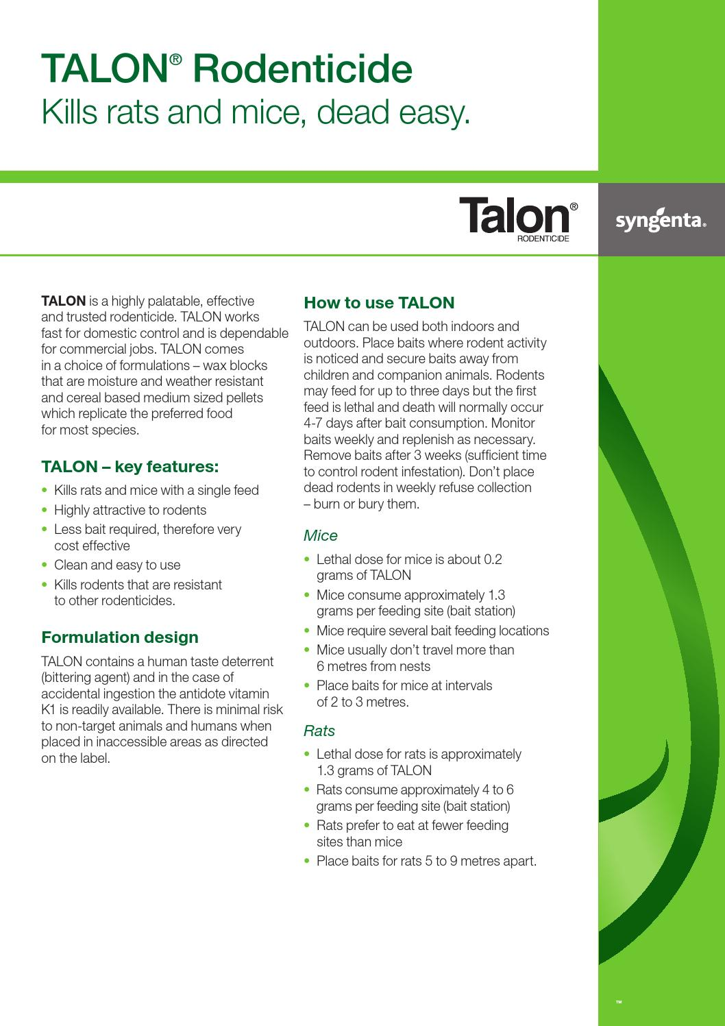 Talon rodenticide range flyer usage tips by Reachcycle - issuu