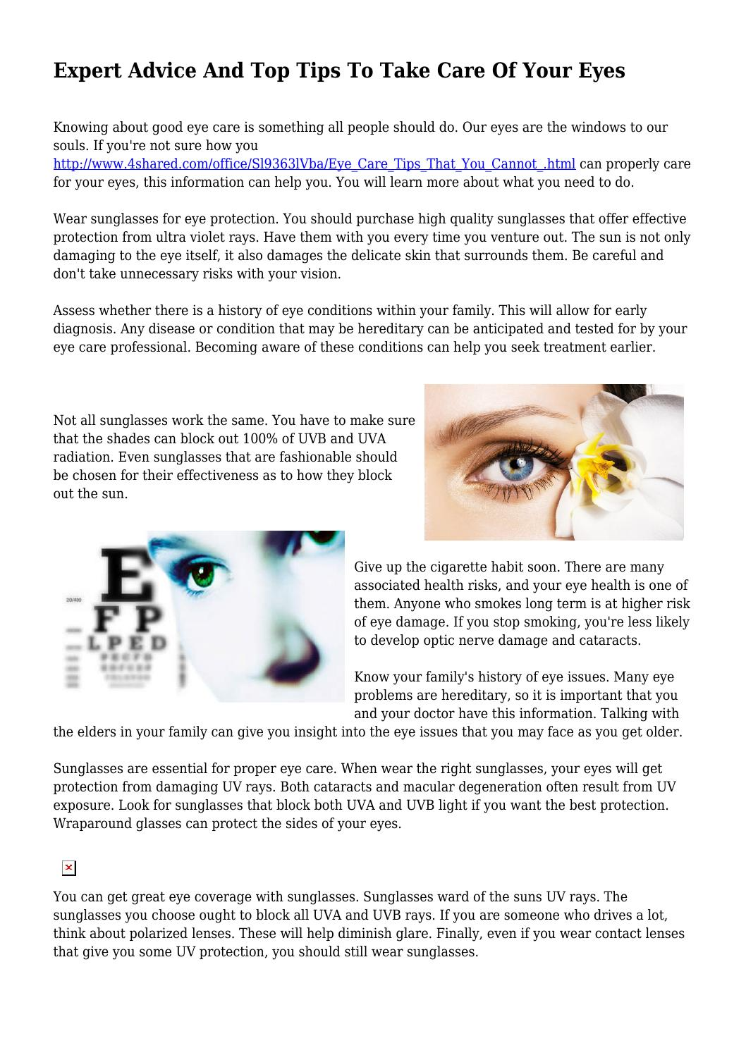 f4ceec73a64 Expert Advice And Top Tips To Take Care Of Your Eyes by heavygimmick381 -  issuu