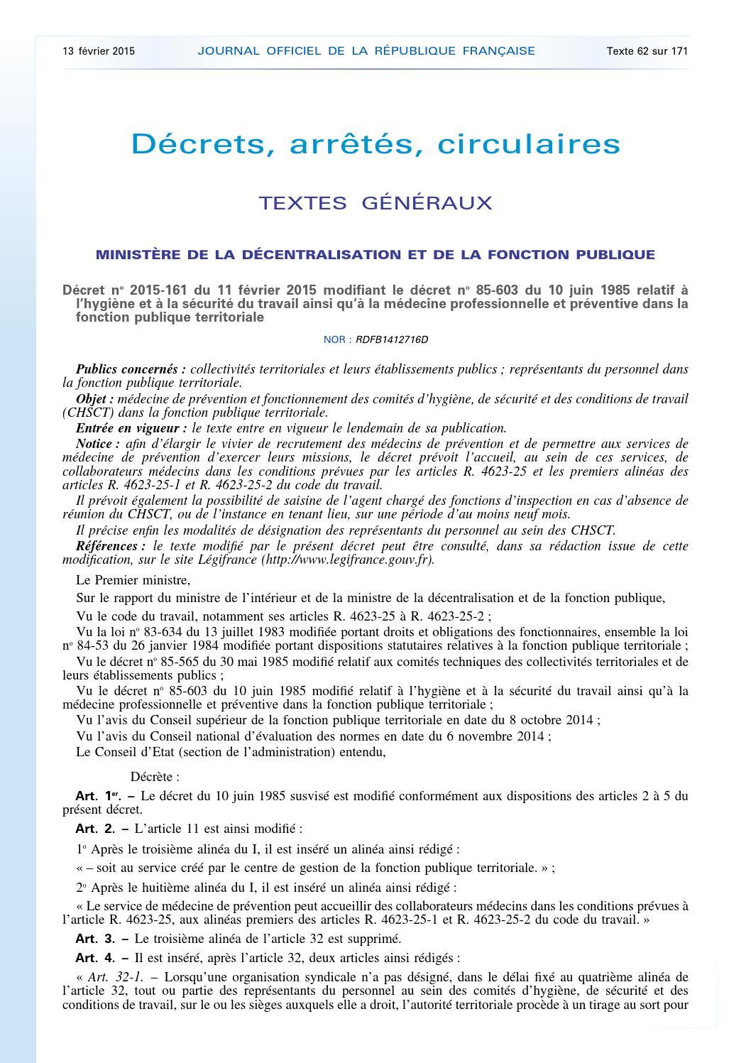 23c9d873056 Décret n°2015 161 du 11 février 2015 médecine préventive dans la fonction  publique – jo 13 02 2015 by addora - issuu