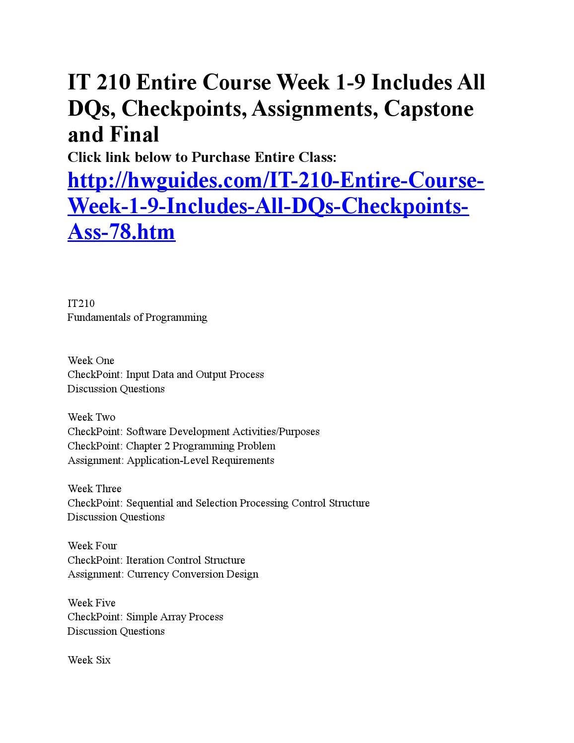 checkpoint software development activities and purposes It 210 entire coursefor more course tutorials visitwwwshoptutorialcomit 210 week 1 checkpoint input data and output processit 210 week 1 dq 1 and dq 2it 210 week 2 checkpoint software development activities purposesit 210 week 2 checkpoint chapter 2 programming problemit 210 week 2 assignment.