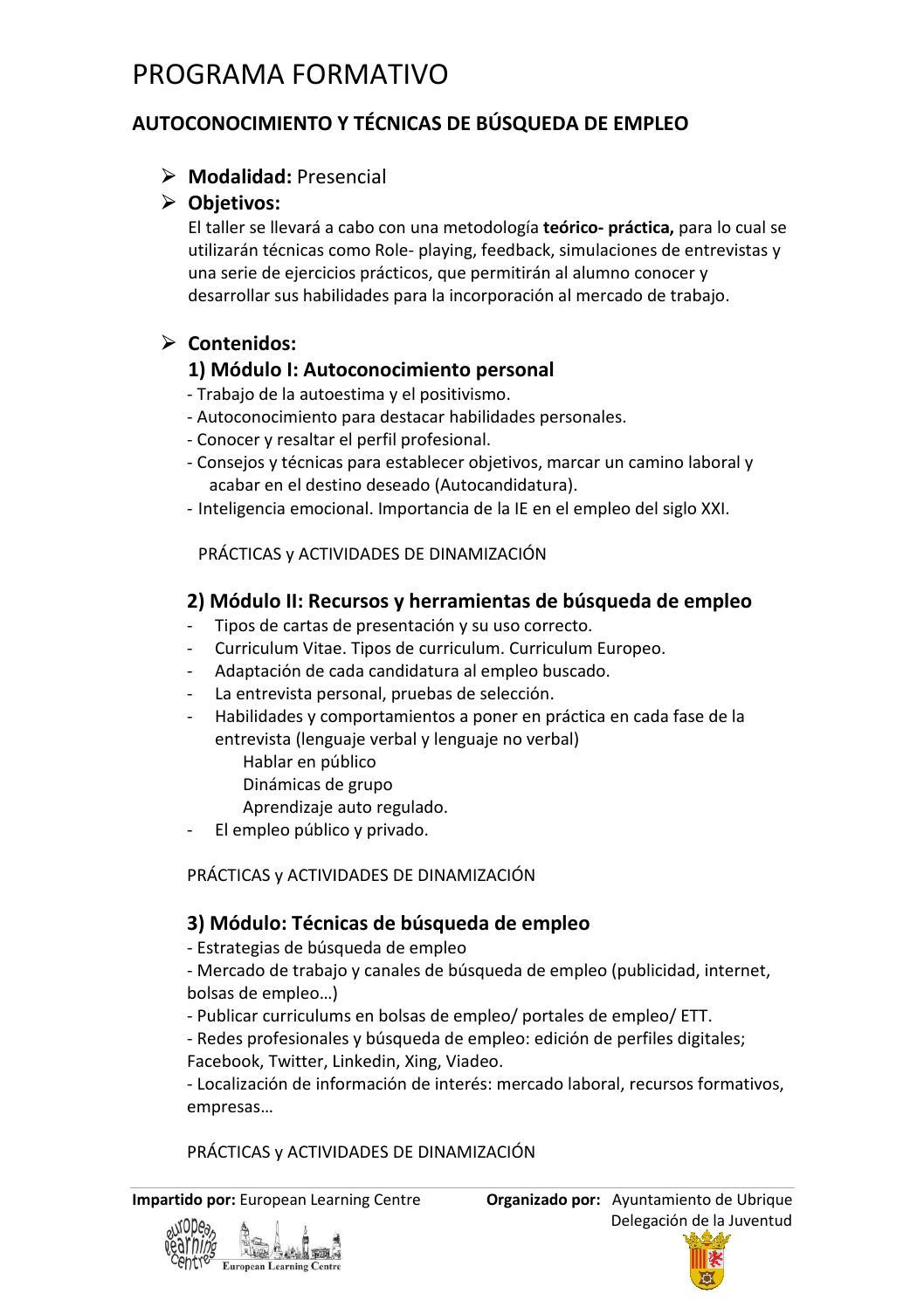 Programa Autoconocimiento y Tc búsqueda de empleo by Juventud ...