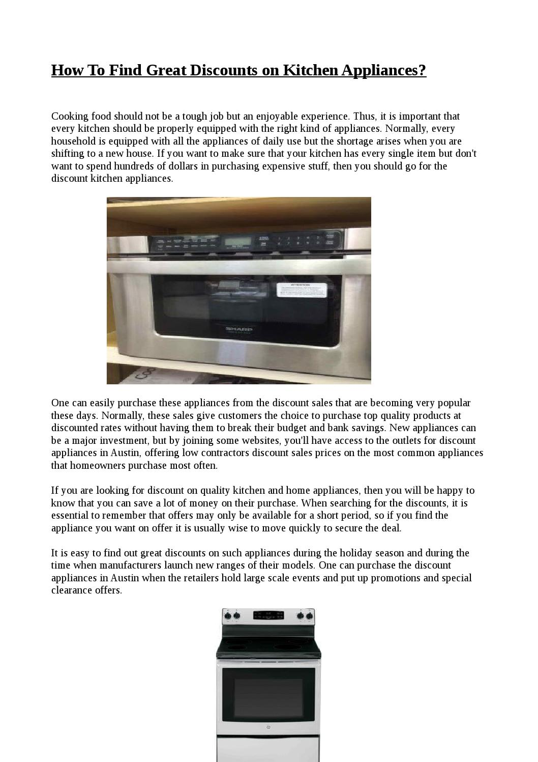 How To Find Great Discounts on Kitchen Appliances? by Appliance ...