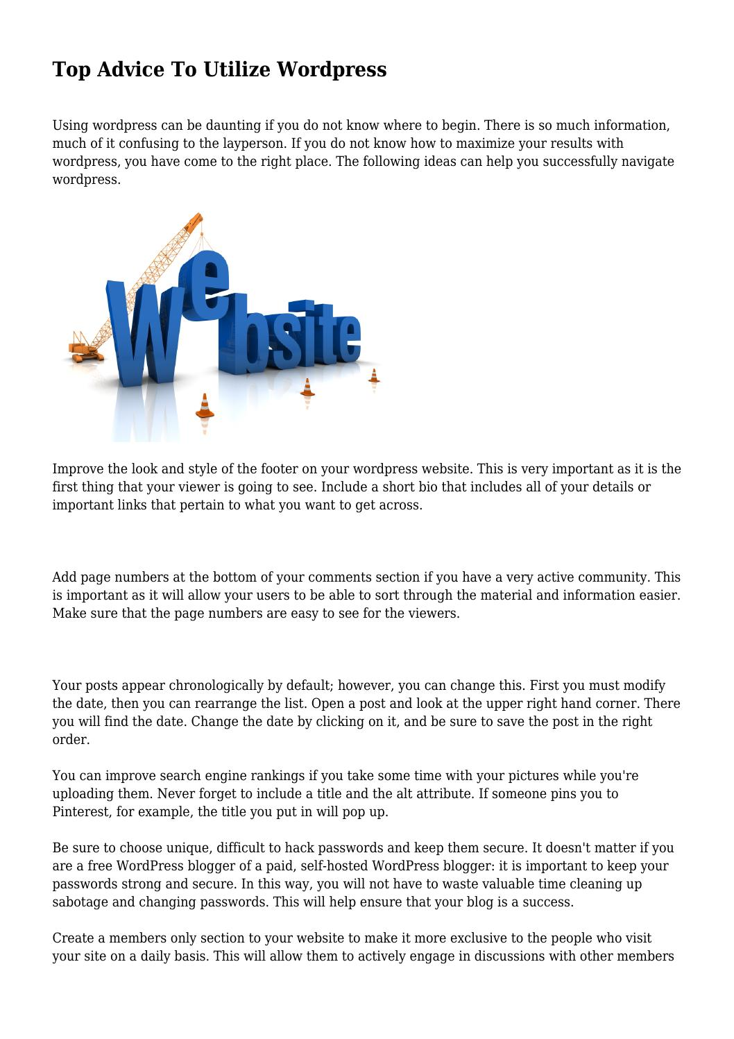 Top Advice To Utilize Wordpress by glamorousquack271 - issuu