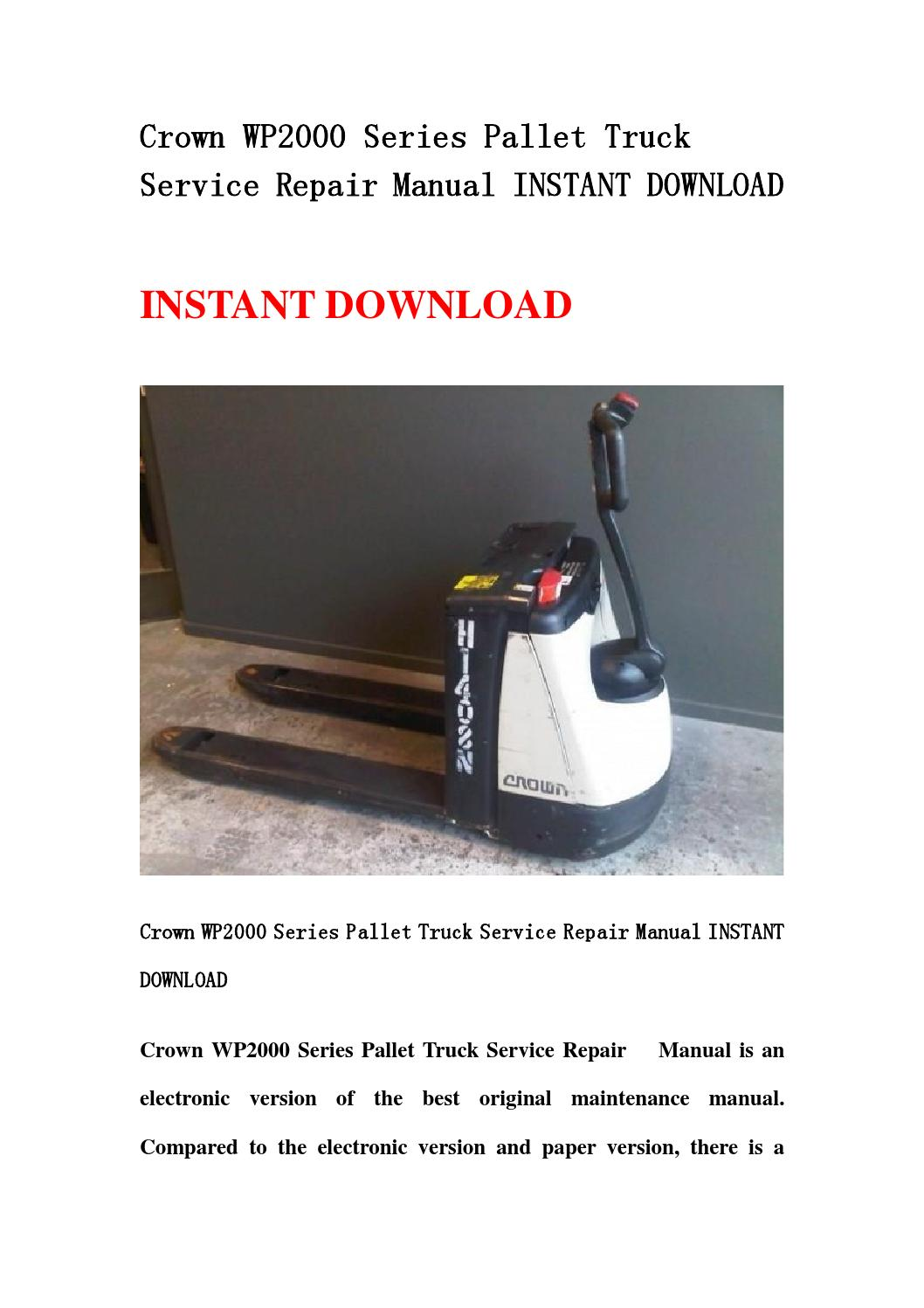 Crown wp2000 series pallet truck service repair manual instant download by  kfmjsnef - issuu