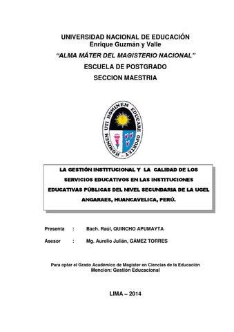 Gestion Institucional Y La Calidad De Los Servicios By Raul