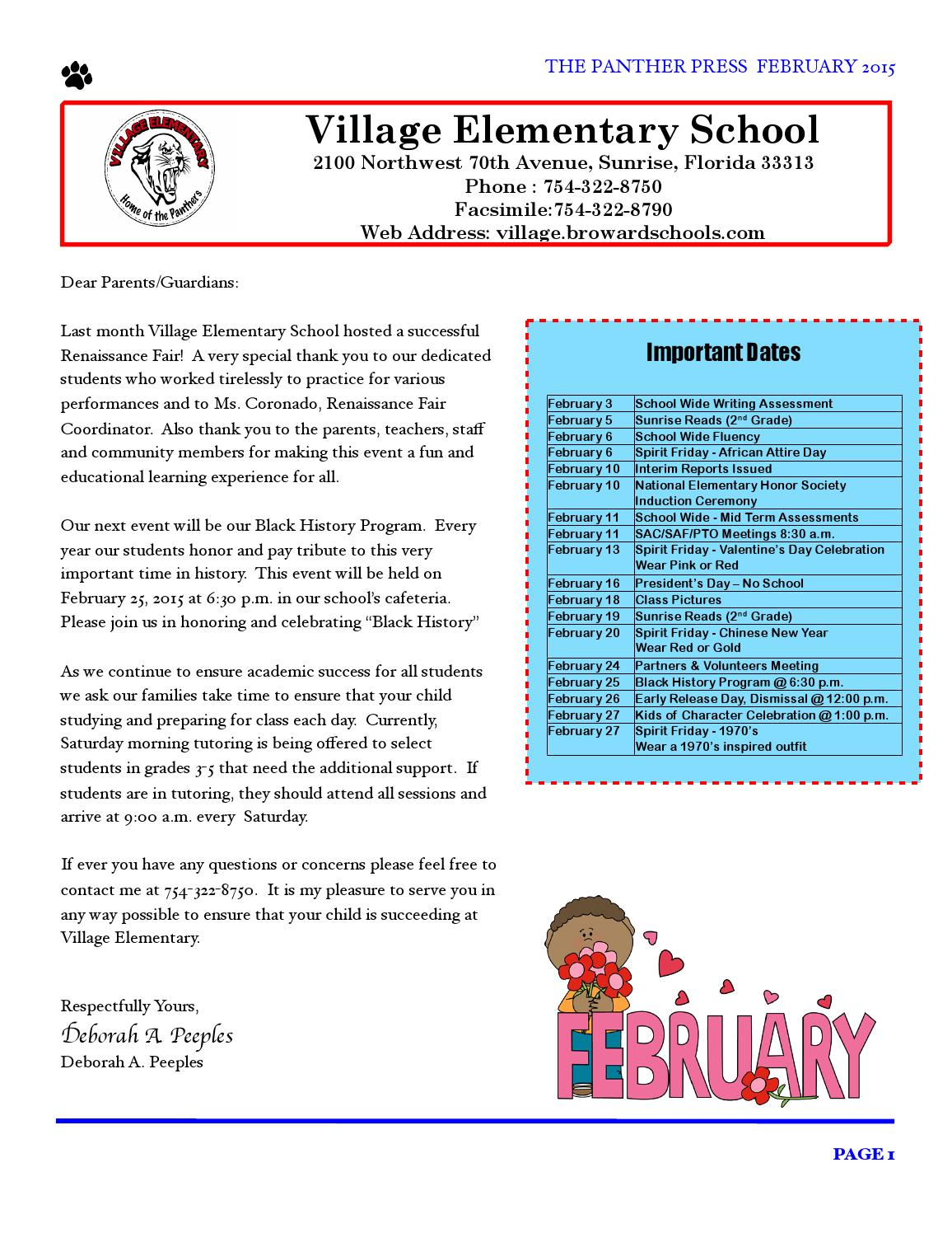 February 2015 newsletter by Village Elementary - issuu