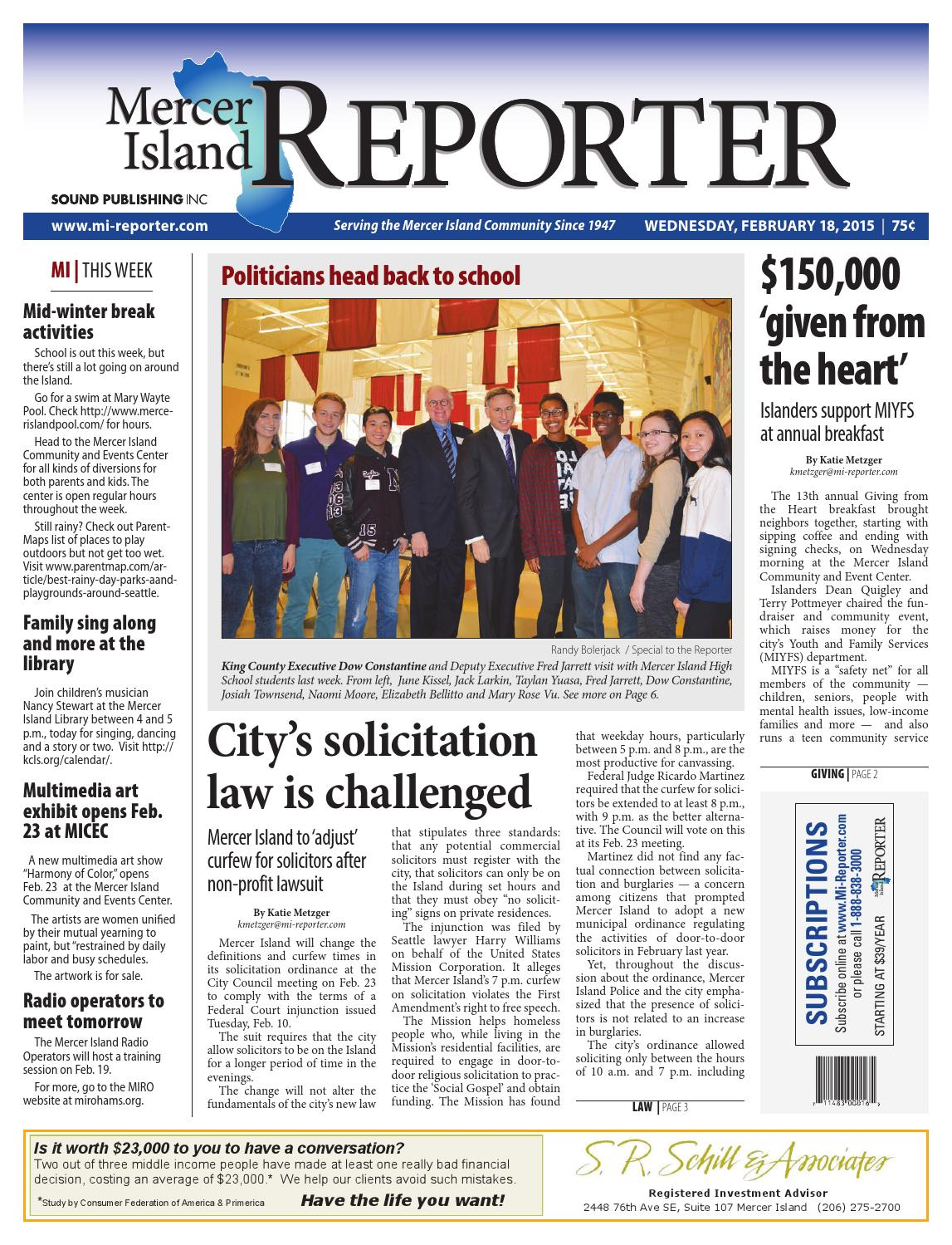 Mercer Island Reporter February 18 2015 By Sound Publishing Issuu