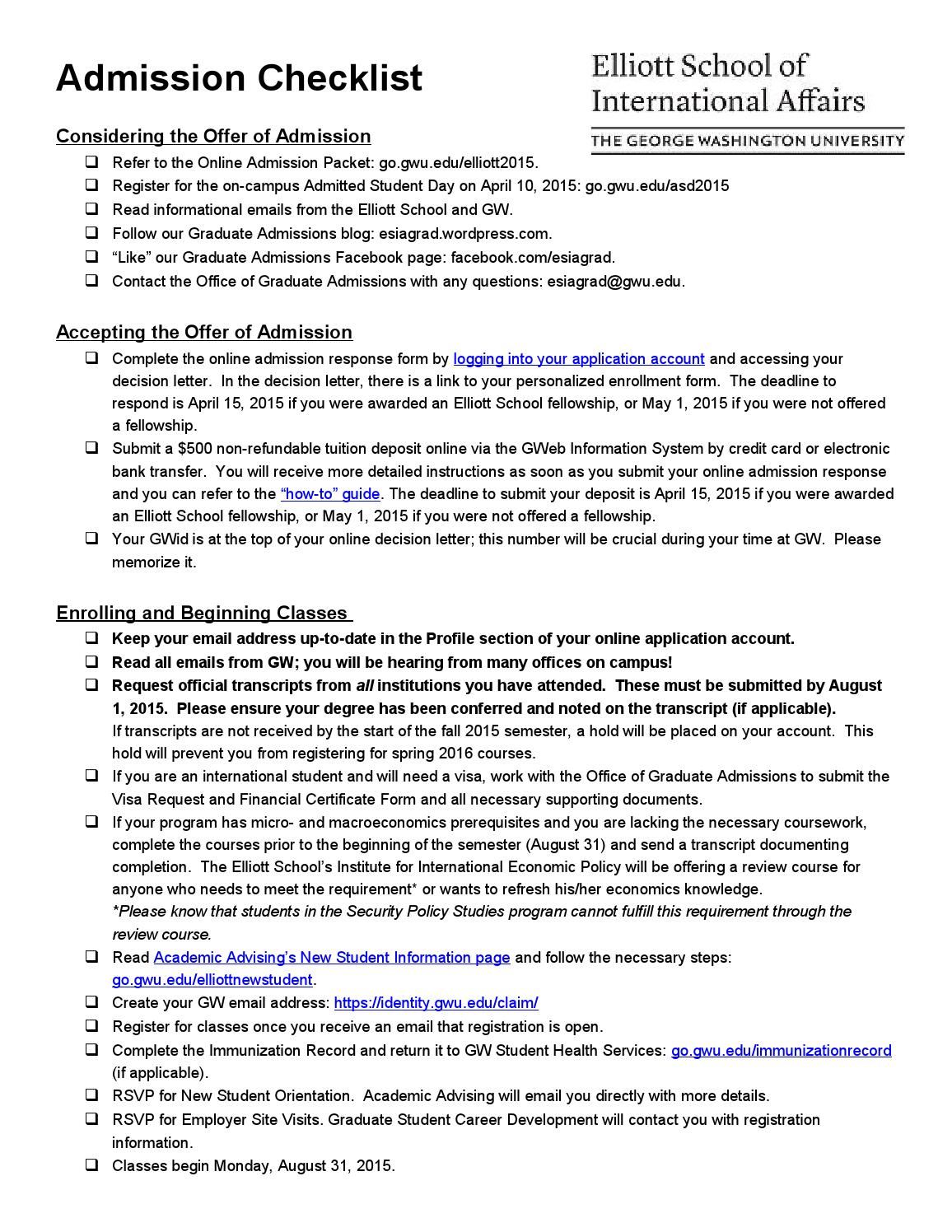 Admitted Student Checklist by esiagrad - issuu