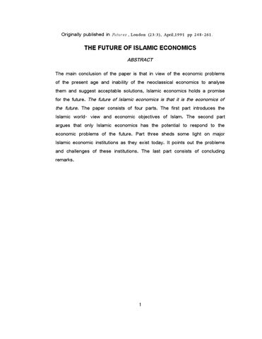 future islamic economics Islamic economics basic concepts, new thinking and future directions edited by taha eğri and necmettin kızılkaya.