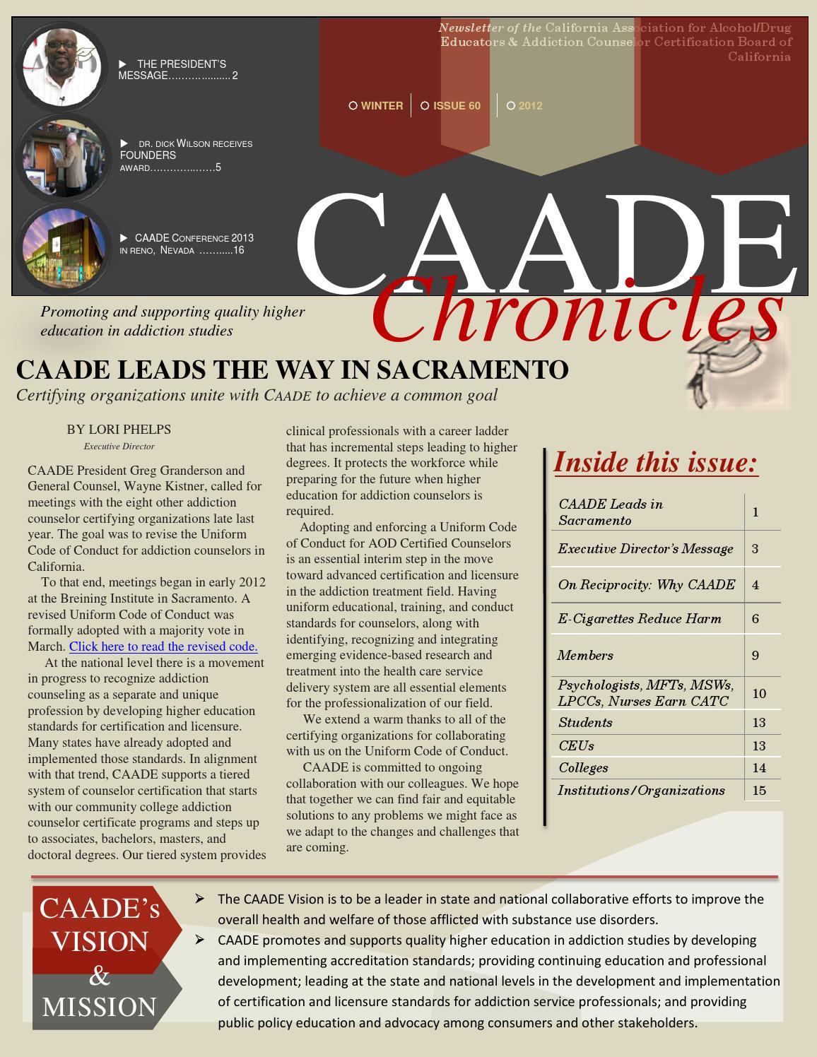 Caade Chronicles Winter 2012 By Caade Catc Issuu
