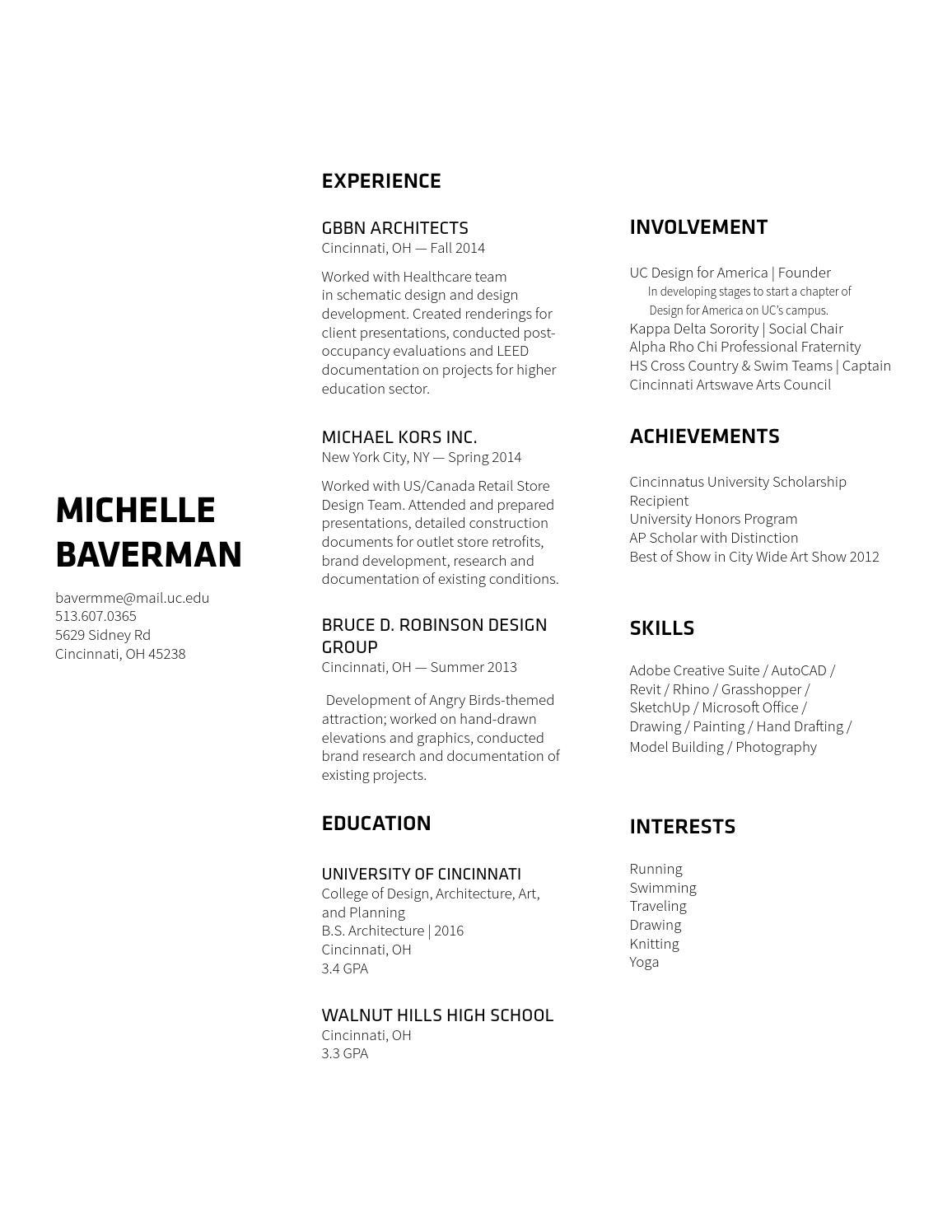 resume by michelle baverman