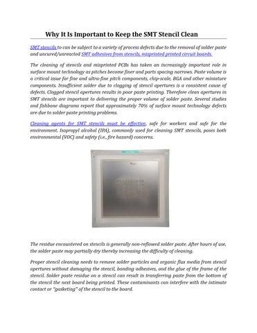 SMT Stencil or Misprinted PCBs Cleaning by Bob Wettermann - issuu