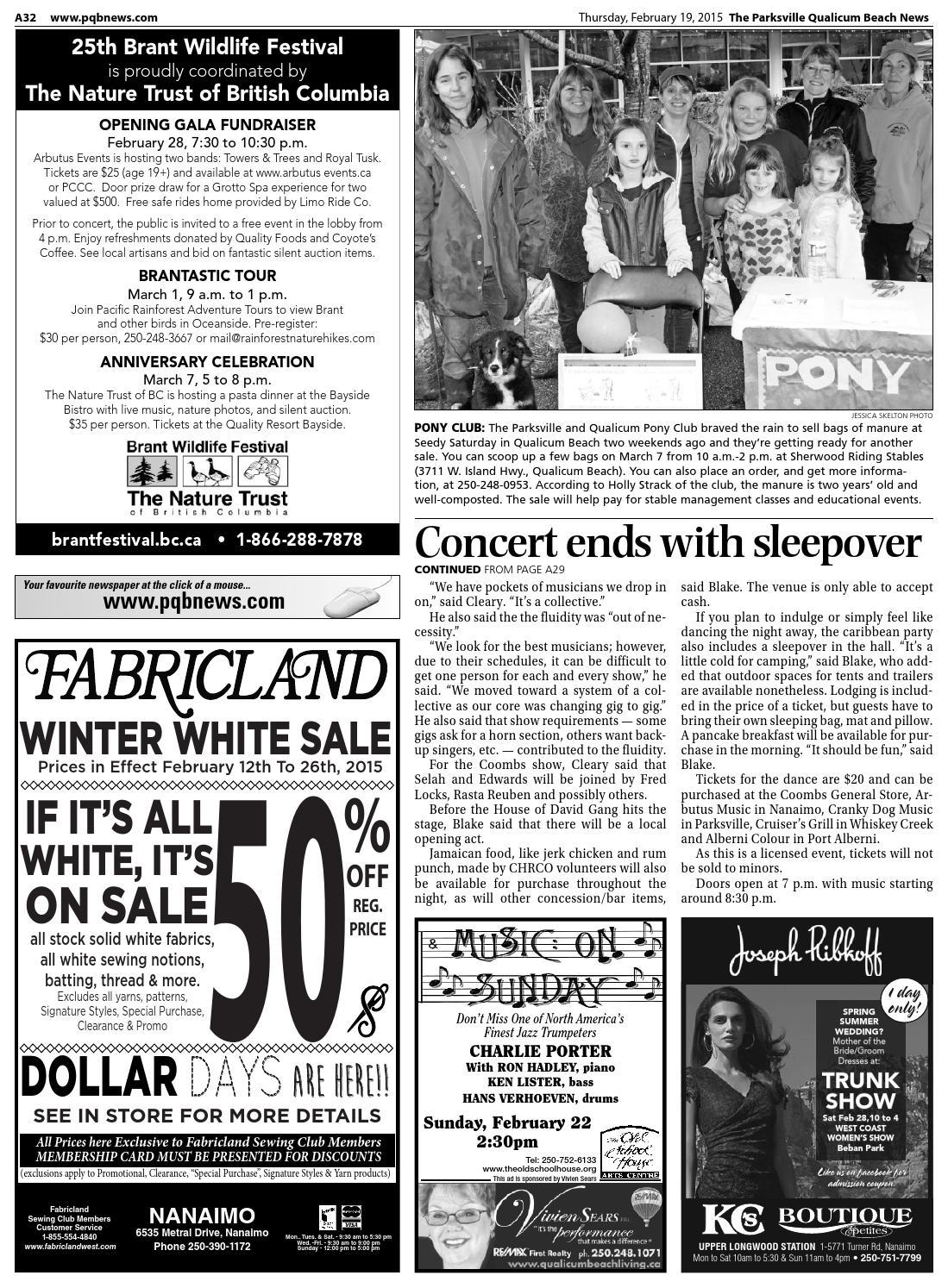 Parksville Qualicum Beach News, February 19, 2015 by Black
