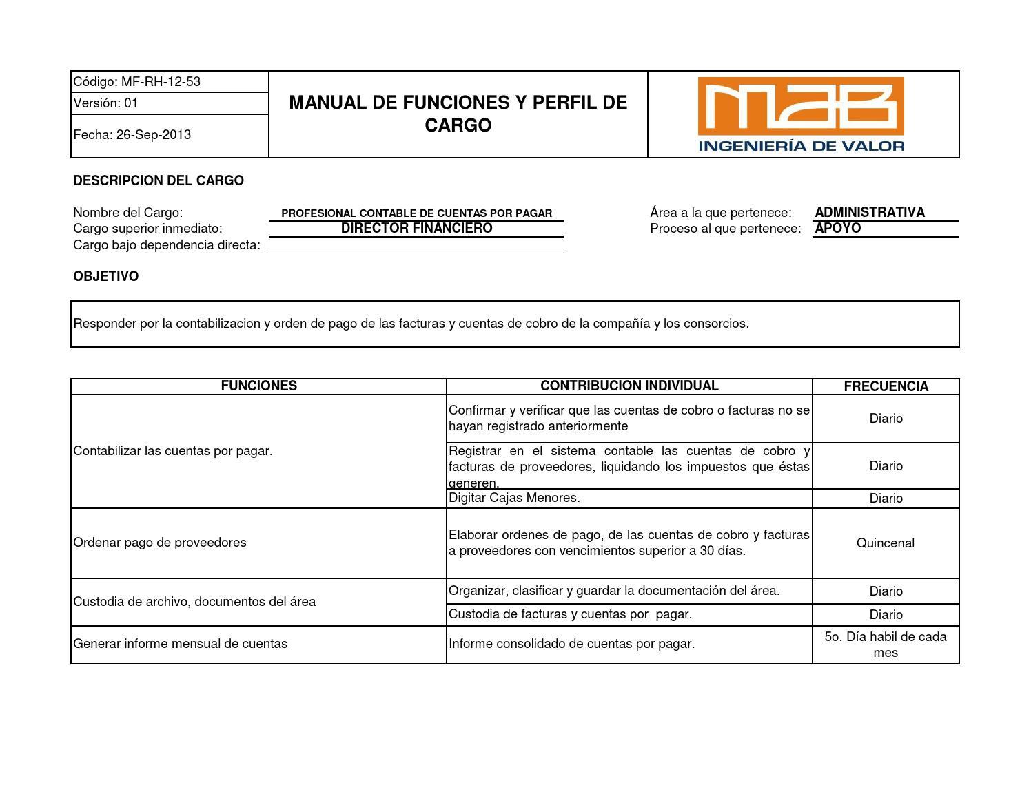 MF-RH-12-53 PROFESIONAL CONTABLE DE CUENTAS POR PAGAR by MAB ...